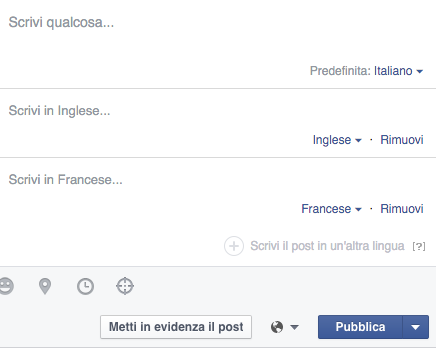 Facebook pagine multilingua per chi lavora sui social